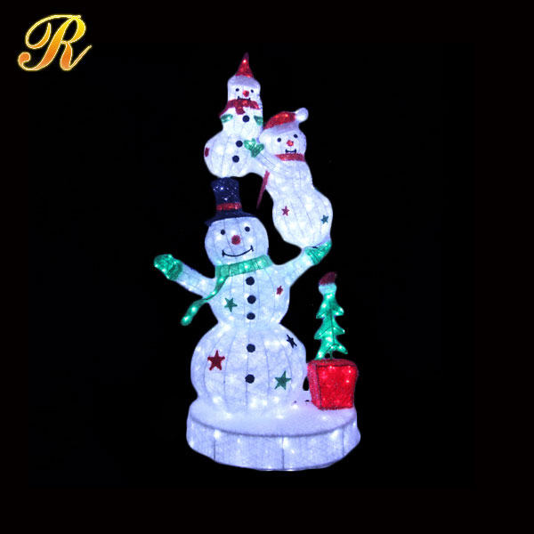 3d light up christmas snowman for outdoor decoration