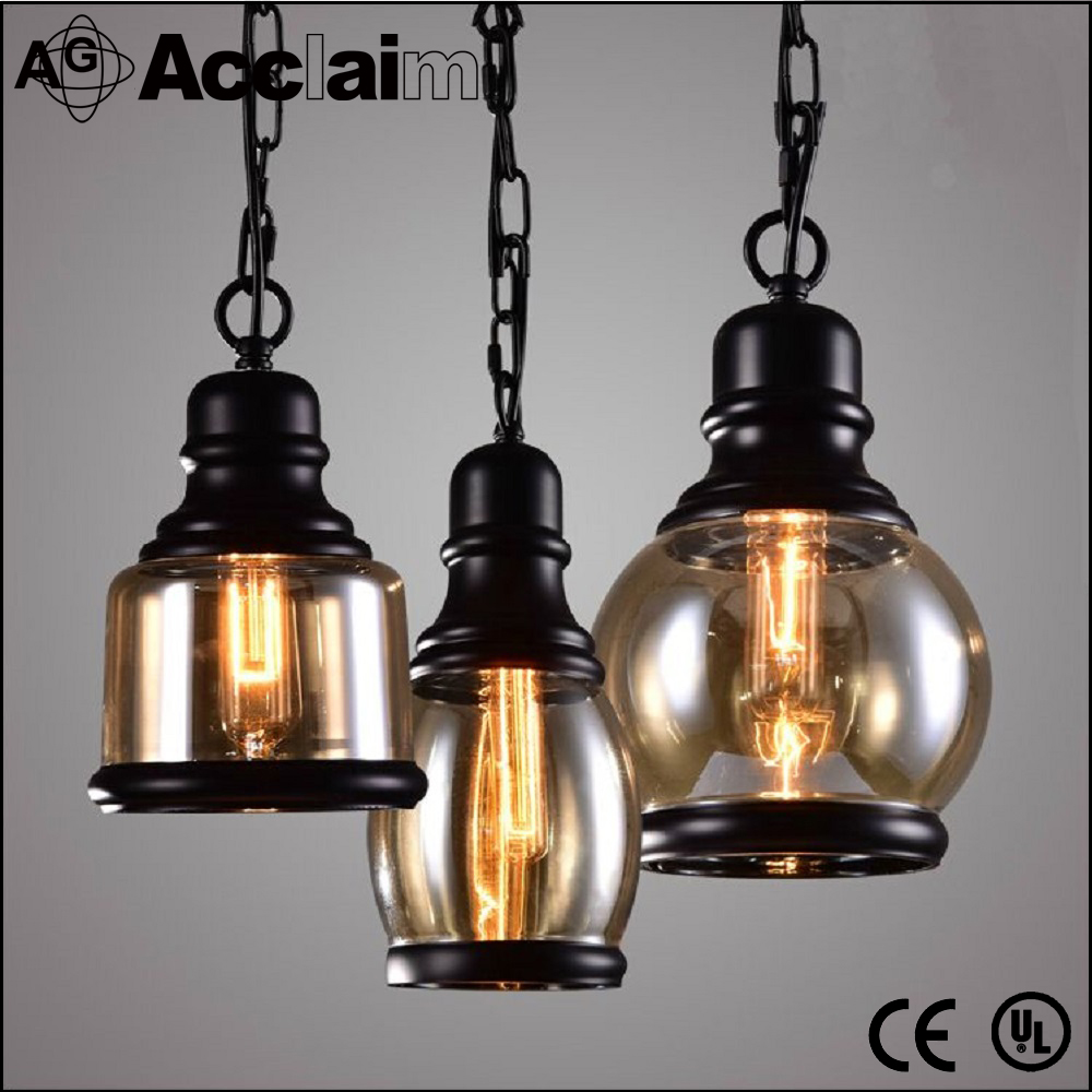industrial black E27 Edison bulb glass ball vintage pendant lamp for coffee