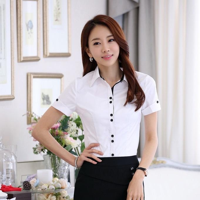 New 2015 Summer Women Formal Shirts Short Sleeve White ...