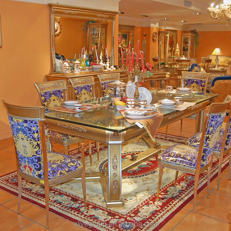 AAS7660B-luxury european traditional furniture dining table with glass top and chair set