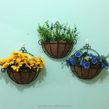 Pvc Coated Metal Wall Hanging Planter Basket With Coco Liner Product On Alibaba