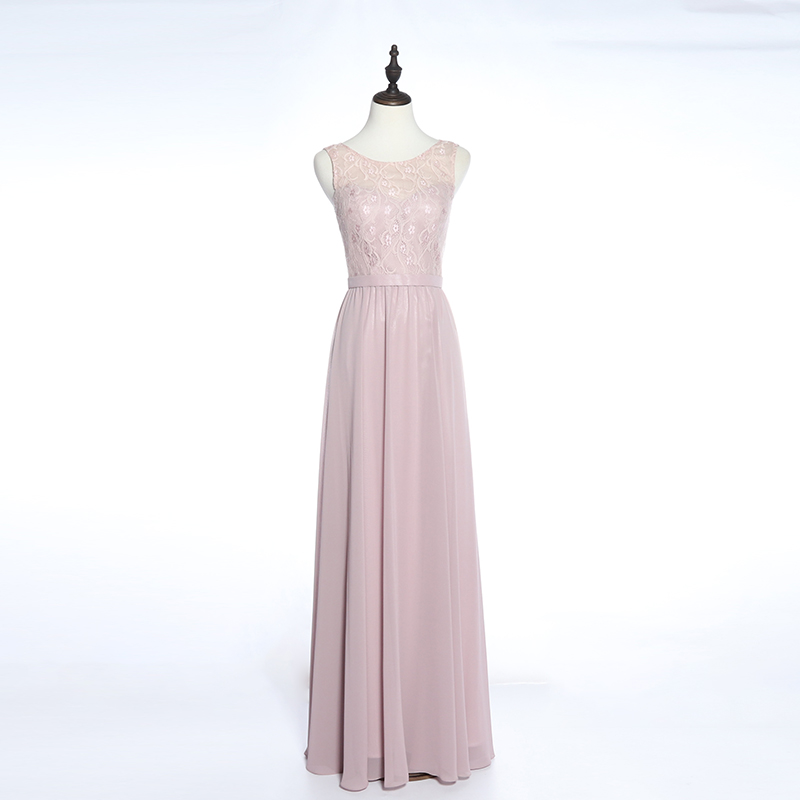 Chiffon O-pescoço moda festa longo vestido de baile 2019 vestidos dama de honra simples