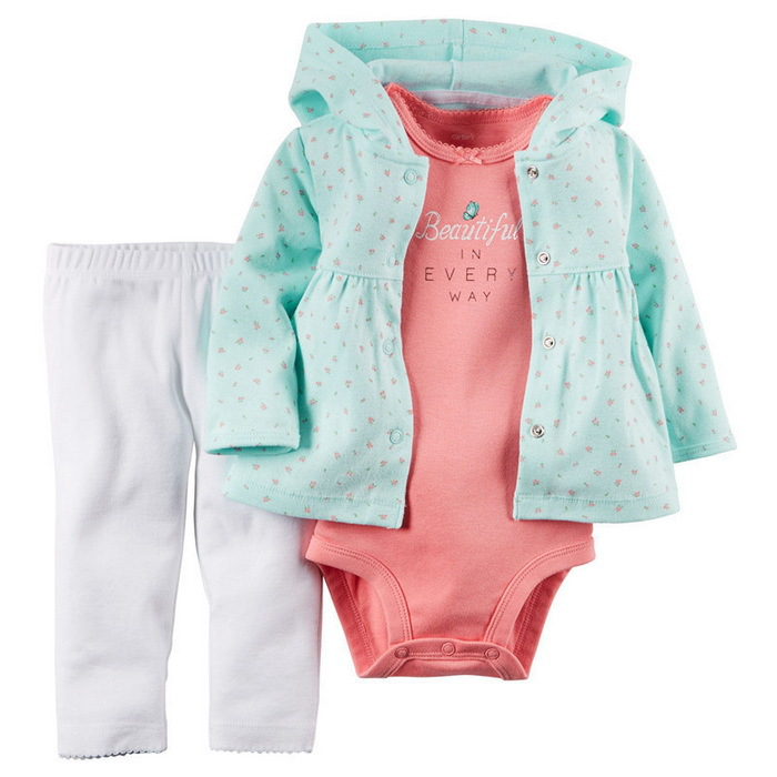 2015 Carters Baby Girls 3-Pieces Flowers Cardigan Set, Carters Sets Hooded Cardigan+Pant+Bodysuit 3pcs Clothing set Freeshipping