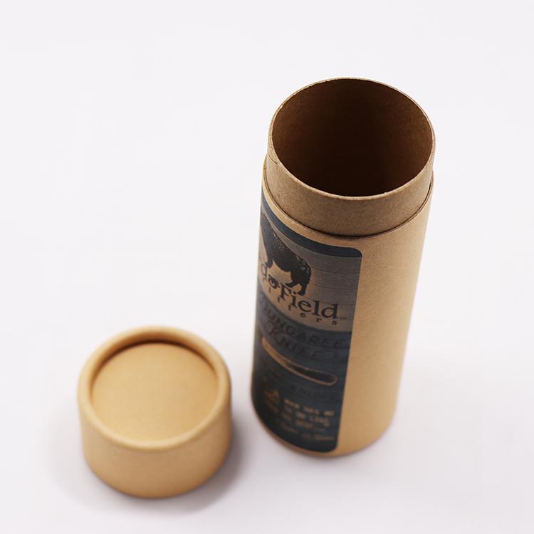 مخصص براون ورقة مع الطباعة كرافت جولة صندوق أنبوب داخل مع ورق مشمع لمستحضرات التجميل