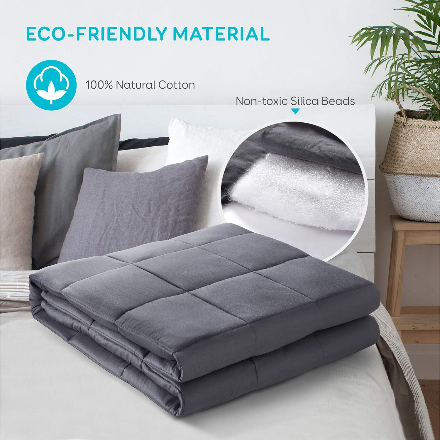 online selling  breathable  organic cotton fabric washable bonded fiber & glass beads filling gravity weighted blanket / quilt