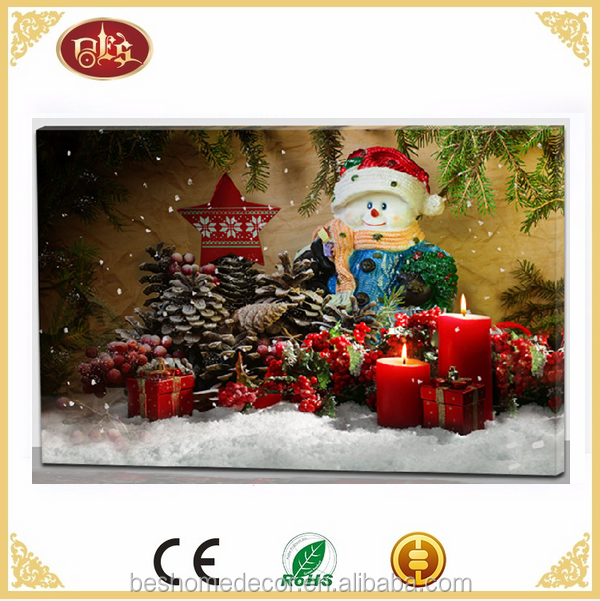 Christmas canvas wall art candle light-up christmas pictures