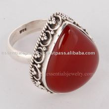 Red Onyx silver Gemstone rings