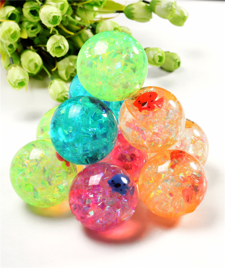 Factory price 55mm pvc plastic led Flashing Bouncy water Ball bouncing toy ball