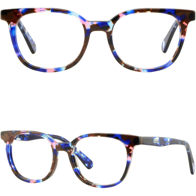 9b2383a015d7 Get Quotations · Square Men Women Acetate Frames Prescription Glasses  Eyeglass Spring Hinges Blue