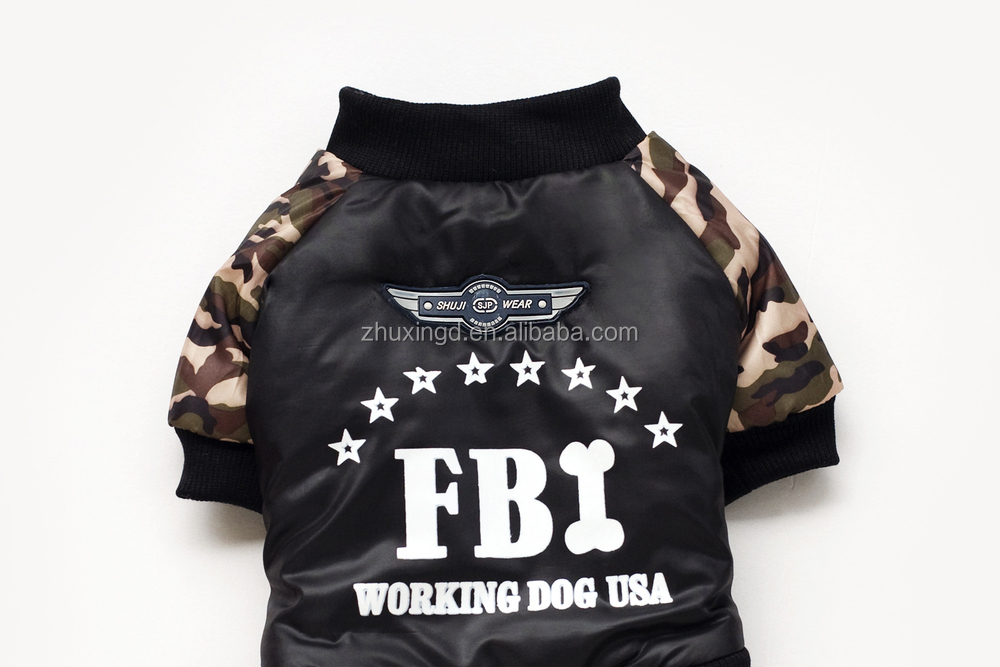 Fashion FBI camo pet jumpsuits, warm leather dog overalls, wholesale camouflage clothing