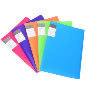 Embossed plastic colorful display book folder A4 size 10 page clear book school