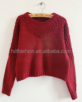 Hollow Out Knitting Pattern Sweater Type Ladies New Design Fashion