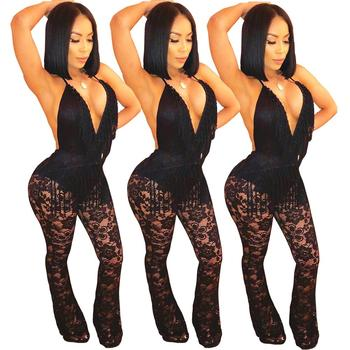 MN126 Deep V-neck sleeveless lace sexy spandex black woman rompers jumpsuits