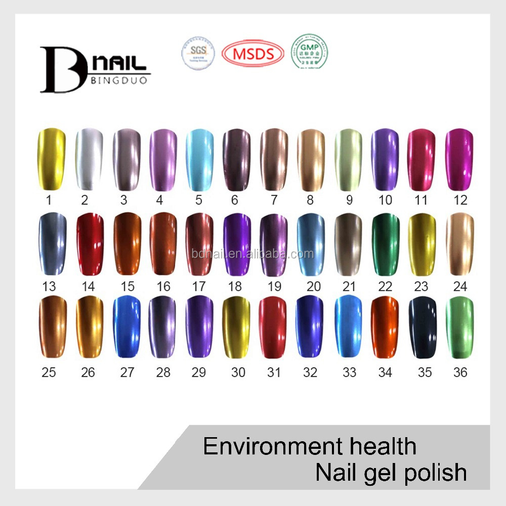 2016 Bd Metallic Gel Polish,Mirror Effect Powder Gel Nail Polish ...