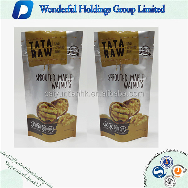 Walnuts Food Safe Sliver Stand Up Zip Lock Bags Aluminum Foil Clear Plastic Pouch Zipper Mylar Heat Seal Tear Notches Bag