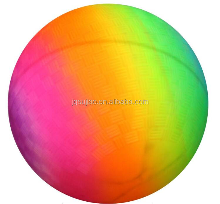 PVC inflatable 9 inch rainbow playground ball small ball toy ball