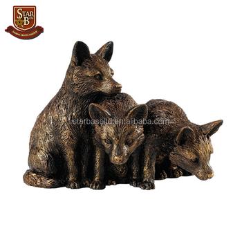 Hot Sale Fairy Garden Statue Cute Resin Bronze Fox Cubs Figurine