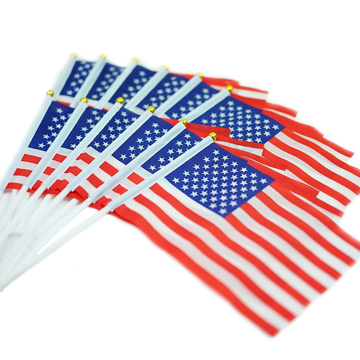 Jetlifee Small American Flags 5 x 8 inch by US Veterans Owned Biz. Small US Flag/Mini American Stick Flag/USA Stick Flag (Pack of 12)