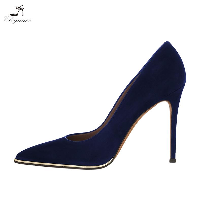 High Women Shoes Blue Pumps Gold Chic Pointy Navy Toe Welt Genuine Nubuck Leather Stiletto Heel fqPxFfArw
