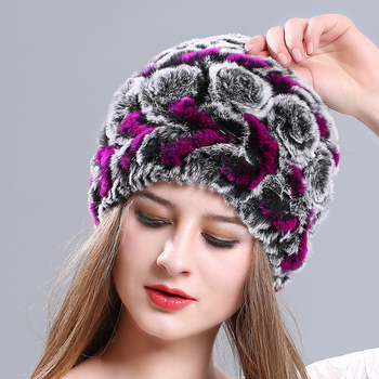 Wholesale Fluffy Knight Helmet Hat Free Knitted Pattern Beanie For