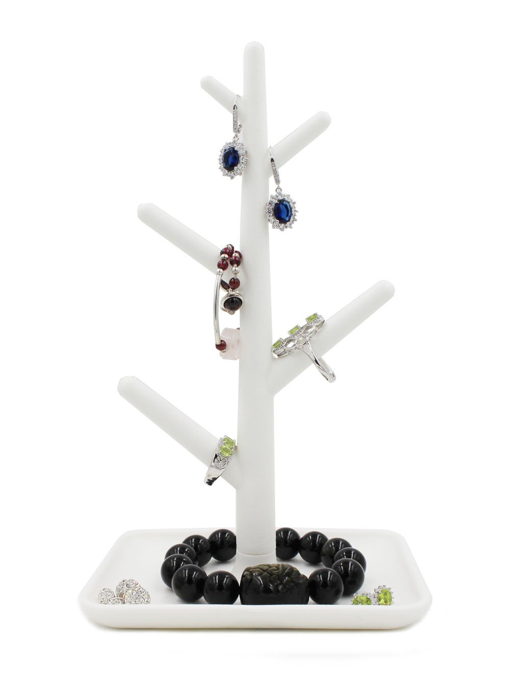 Eyotool Jewelry Tree Organizer Rack Display Tower Stand Holder Organizer Dish Tray for Earrings Necklace Ring (White)