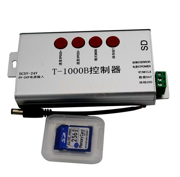 DC5V-24V T-1000B SD Card ws2811 ws2812 ws2812b ws2801 controller for programmable led strip lights max control 2048 pixels