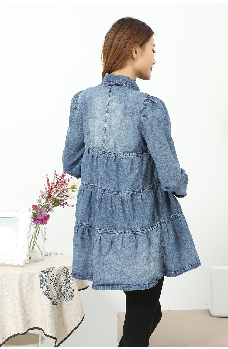 Long sleeve denim dress 2015 Maternity with plus size fashion summer dress  clothes for pregnant dress Women Gift Spring summer