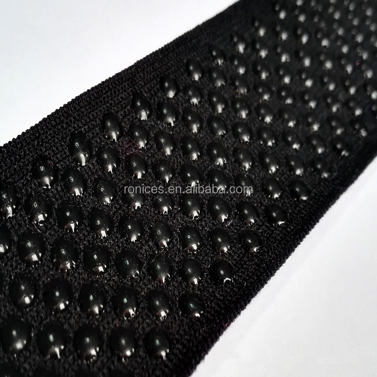 Underwear webbing tape black high density silicone elastic tape embossed dots