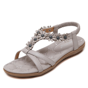 Wholesale Latest Design Beautiful Summer Beach Bohemian Flower Flat Masai Sandals