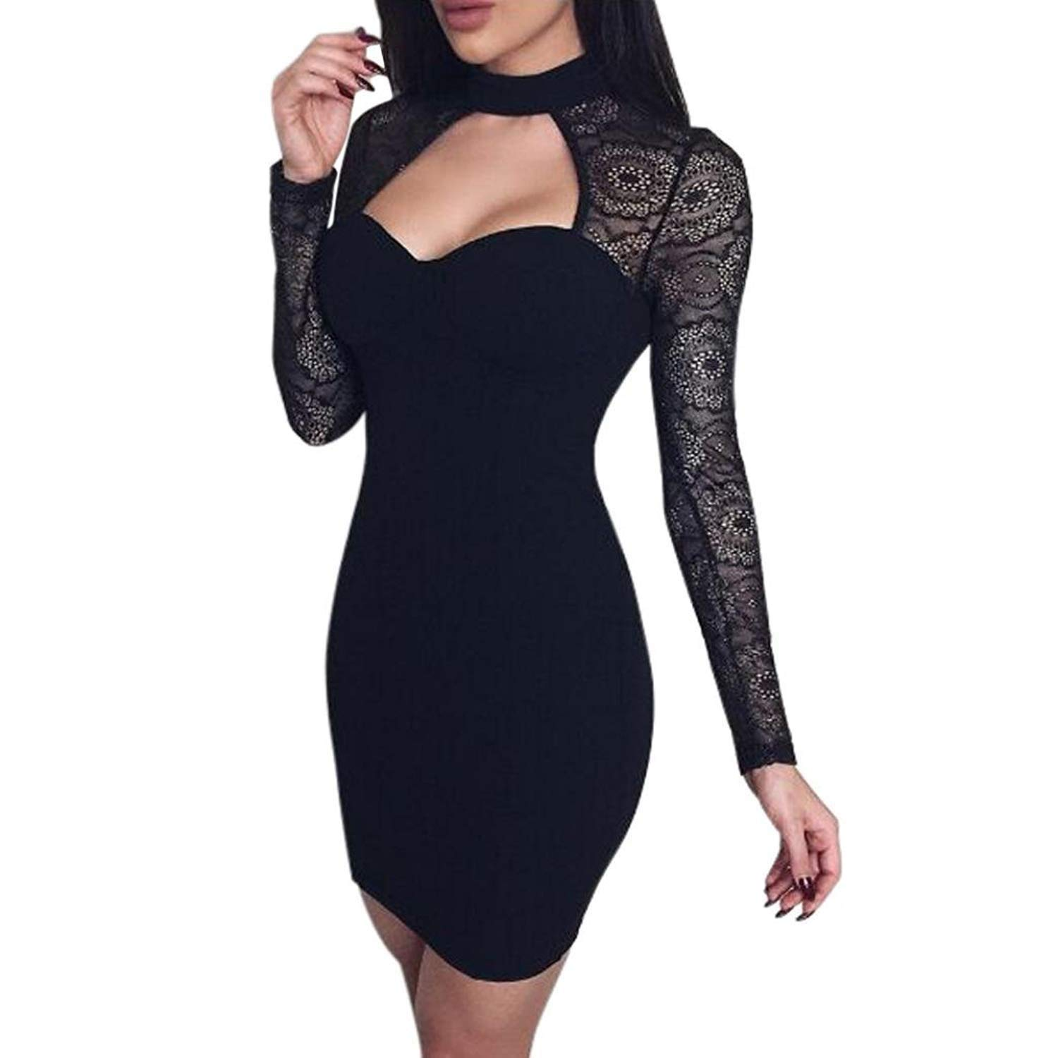 Get Quotations · Colorful summer dress Dress Sexy Lace Long Sleeve Keyhole  Mini Dress Bodycon Party Dress 359039066628