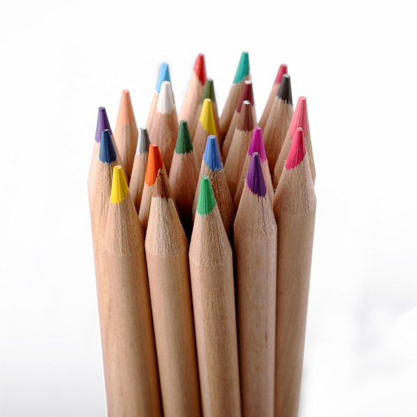 7'' Drawing natural wooden color pencil with colorful end,wood color pencil