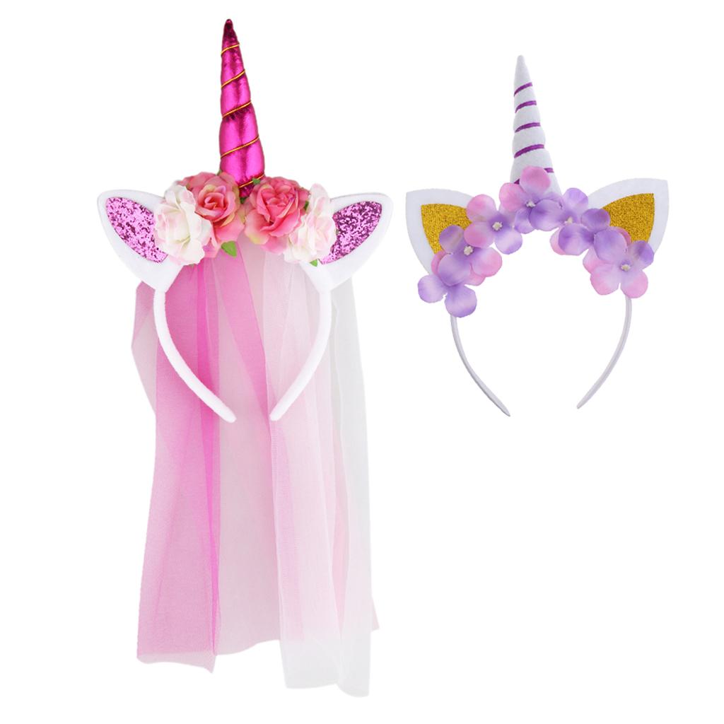 2Pairs Sweet Magical Unicorn Horn Headband Girls Party Fancy Dress Costume