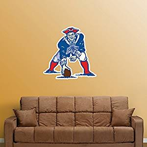 """New England Patriots FATHEAD Classic Vintage Team Logo Official NFL Vinyl Wall Graphic 21""""x19"""" INCH"""