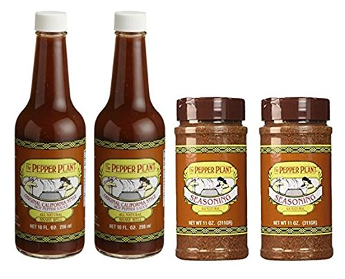 The Pepper Plant Combo Pack (2) Original Hot Pepper Sauce (2) Dry Seasoning Spice 11oz (Pack of 4)
