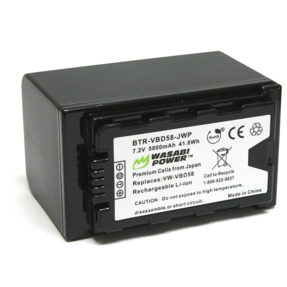 Wasabi Power Battery (5800mAh) for Panasonic VW-VBD58 and Panasonic AG-3DA1, AG-AC8, AG-DVC30, AG-HPX171, AG-HPX250, AG-HPX255, AG-HVX201, AJ-PCS060, AJ-PX270, AJ-PX298, HC-MDH2, HC-X1000, HDC-Z10000