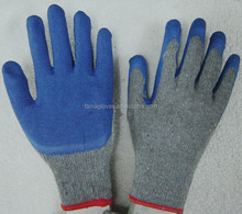 crinkle latex palm coated poly cotton knitting safety work gloves construction/latex rubber dip work gloves