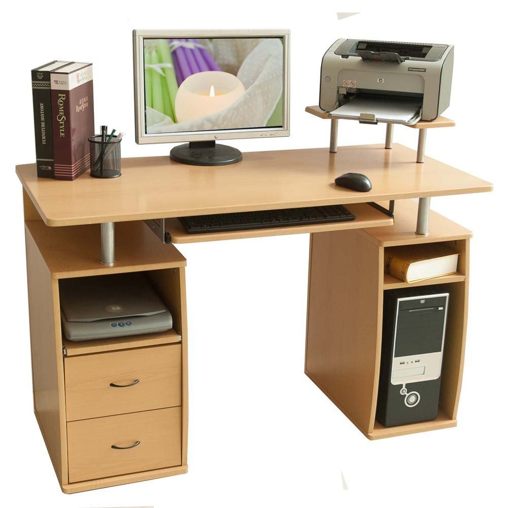 Merax SM000003 Essential Home Office Computer Desk with Pull-Out Keyboard Tray and Drawers