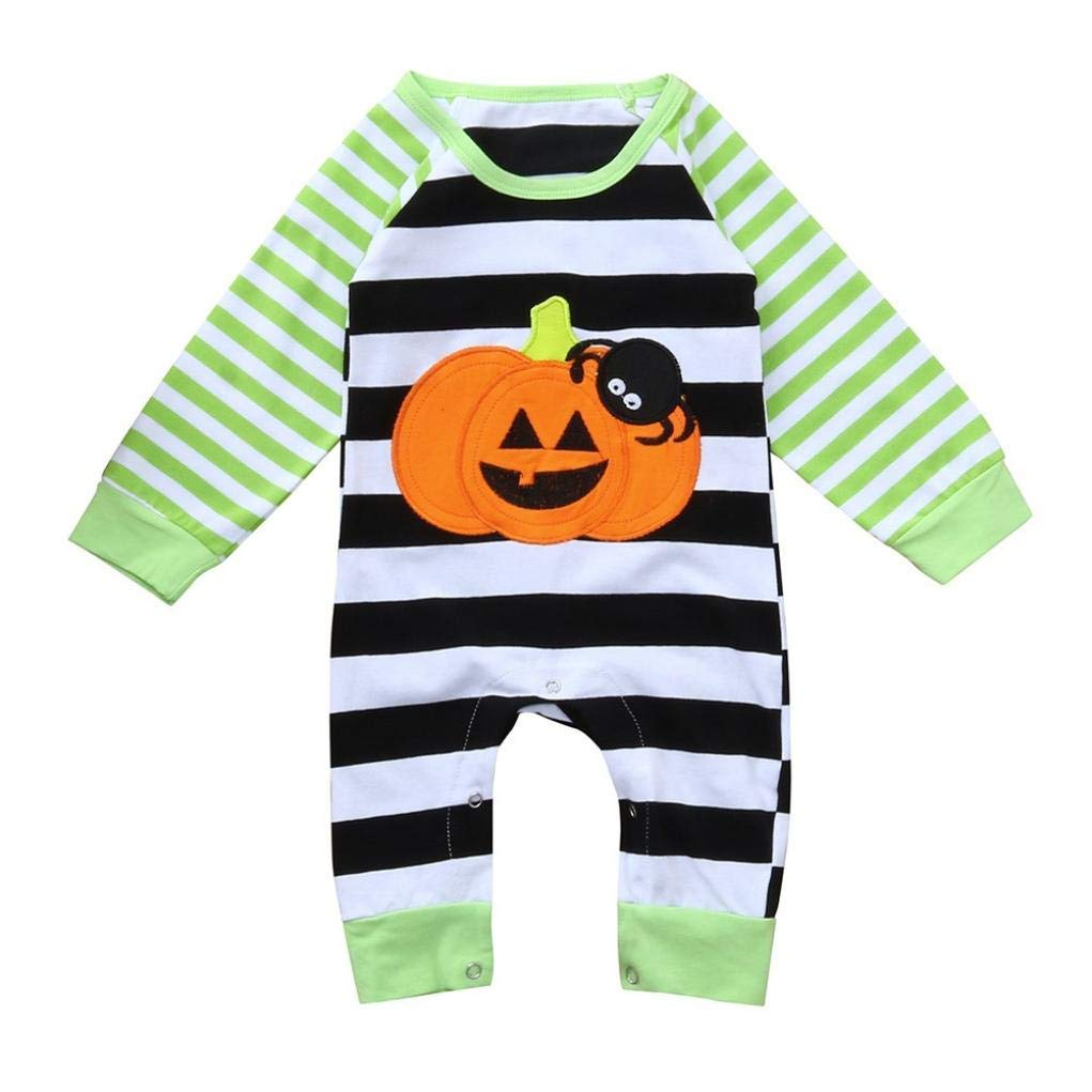 Baby Girl Boy Halloween Striped Spider Pumpkin Romper Jumpsuit Long Sleeve Outfit (Green, 9-12 Months)
