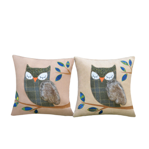 wool viscose blend owl embroidery Cushion Cover home office sofa square bird pillow case decorative cushion covers pillowcases