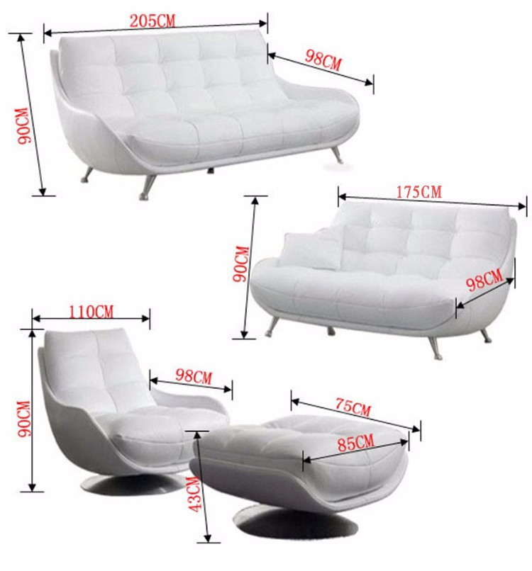 Popular Style Genuine Leather Sofa Modern Living Room Furniture Sectional Set With Stainless Steel Feet