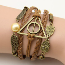 Cheap Diy Multilayer Leather Bracelets Jewelry,Harry Porter Dove Of Peace and Vintage Angel Wings Charms Bracelet With Pearl