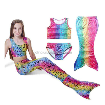 148a96368ba 2017 Custom Girl's 3pcs Mermaid Tail Rainbow Princess Bikini Children  Bathing Suit Child Cute Swimsuit Kids