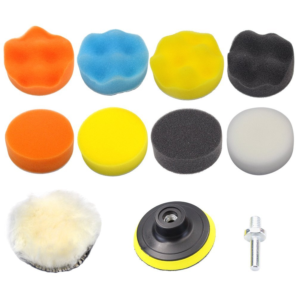 """Md Trade 11PCS 3""""/80mm Compound Drill Buffing Sponge Pads Kit for Car Sanding, Polishing, Waxing, Sealing Glaze (9 Polishing Pads,1 Woolen Buffer, 1 Thread Drill Adapter with Shank)"""
