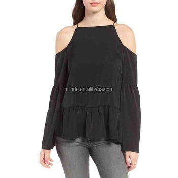 07a30168dd9ac Bell Sleeve Top Cold Shoulder Top for Women Fashion Cheap Off Shoulder Tops  Pattern Wholesale Custom