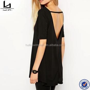 Back V Design Black Tie Dye T Shirts Women Plain T-shirts 100 ...