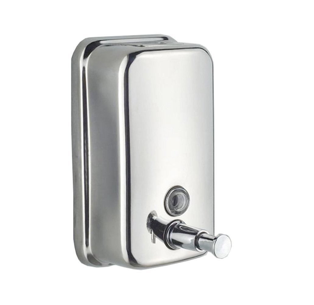 E Support™ 1000ml Classic Series Surface-Mounted Stainless Steel Manual Wall-Mount Soap Dispenser For Bathroom Kitchen Marketplace Hotel Restaurant