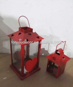 Classic wedding and holiday decoration metal lantern with heart design ML-1300 set of 2