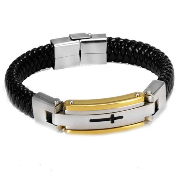 JZY045 Huilin Jewelry Stainless Steel Crucifix Cross Leather Bracelets Cuff Gold Bangle Wrist Band Bracelet