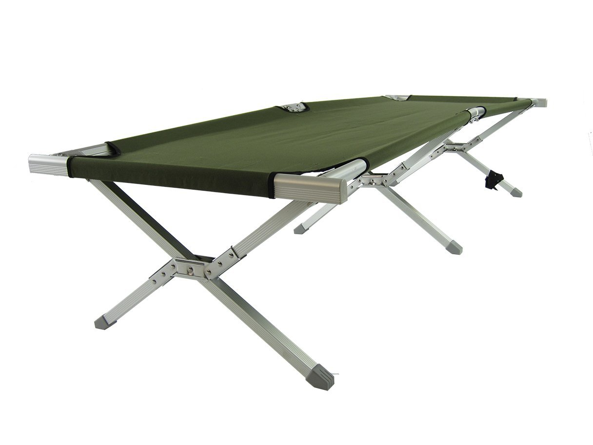 Onway Aluminum Portable Folding Military Cot - OD Green | GI Bed | Military bed | Foldable cot | Camping Cot | Camping bed