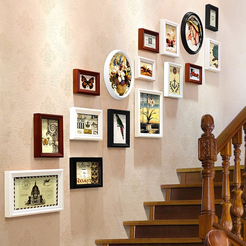@Decorative frame Stairs Decorative Paintings, Photo Gallery Frames Sets Of 16 Restaurant Painting Wall Paintings Sofa Background Wall Decorative Paintings Painting ( Color : A )